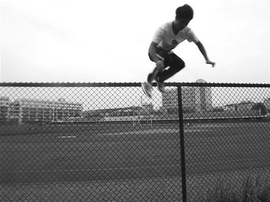 欧美男滑板从栏杆头像