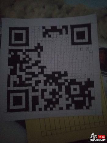 武汉一大学生手绘二维码做表情包